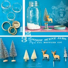 Rhonna DESIGNS: DIY Christmas No. 2 :: Snow Scene Jar Tutorial  --  These snow scene ideas are limitless for table decorations and gifts for special people and occasions.  Time permitting ... may suggest these for 45th Class reunion table decorations.