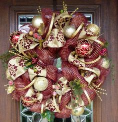 christmas mesh wreaths ideas red gold christmas decoration tree toys