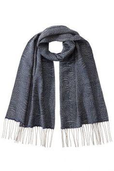 Etro Etro Kaschmir-Schal mit Seide und Fransen – Blau