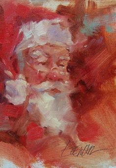 paintings that are done in such bold brush strokes have so much textures to it. Christmas Scenes, Christmas Past, Father Christmas, Christmas Pictures, Winter Christmas, Christmas Crafts, Xmas, Santa Paintings, Christmas Paintings