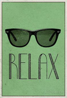 Relax Retro Sunglasses Art Poster Print Pôsters na AllPosters.com.br