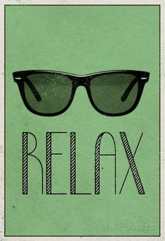 Relax Retro Sunglasses Art Poster Print Pôsters na AllPosters.com.br