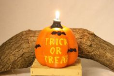 Large Pumpkin Candle, Halloween Decoration, Halloween Candle, Trick or Treat Scented Candle