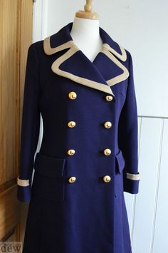 NAVY INDIGO BLUE 1960's 70's coat like frank russell DESIGNER miltary MOD 12 in Clothes, Shoes & Accessories, Vintage Clothing & Accessories, Women's Vintage Clothing | eBay