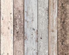 Steigerhout Vliesbehang Blauw/Bruin bij Behangwebshop