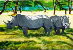 Rhinos surviving in the scorching heat at&nbs... ;  Artist: OLIVER MACHADO; Art Form: Paintings ; Style: Realism ; Media: Acrylic ; Genre: Animals,Nature,Wildlife