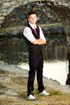 Josh is looking good as he stands near the water at Adriatica Village.