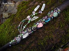 Kristallmagie Wand Gemsbok Horn Rosenquarz von SpinningCastle