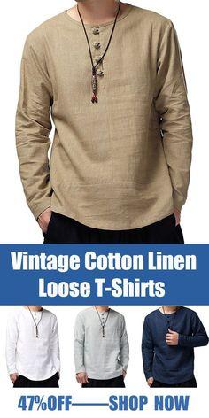 Vintage Cotton Linen Long Sleeve Loose T-Shirts - Men's style, accessories, mens fashion trends 2020 Indian Men Fashion, Mens Fashion Suits, Casual Shirts For Men, Men Casual, Linen Outfits For Men, Casual Styles, Calvin Klein Logo, T Shirt Vest, Henley Shirts