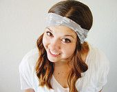 Abstract head wrap - grey gray and cream white - wide stretch headband with knot