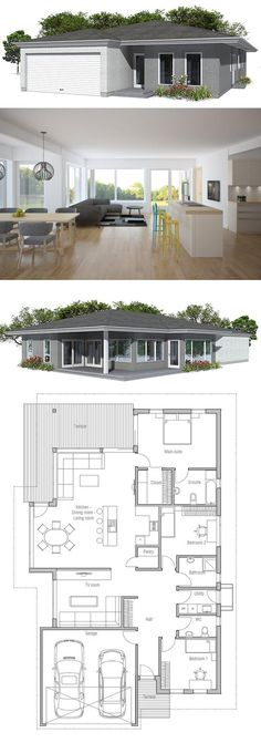 Modern House Plan with covered terrace. Garage for two cars, united dining & living area, three bedrooms. Floor plan from ConceptHome.com