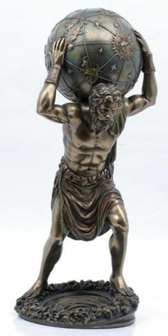 "Greek Primordial Titan Atlas Bearing Sky Ouranos in Gaia Statue Figurine 11""H   eBay"