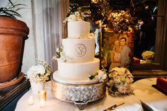 white monogram cake | Mark Williams Studio #wedding