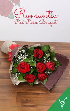 Product Details: 6 Red Roses Fillers- Gypsophila, Single Ruscus Leaves & Salal Tips. Wrapped in Red & Off White Fabric Red Rose Bouquet, Order Flowers Online, Gypsophila, Flower Delivery, Red Roses, Flower Arrangements, College, Gift Wrapping, Romantic