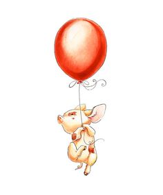 Watercolor Nursery Art. When Pigs Fly Pig by PosieMeadows on Etsy