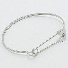 8.78$ + free shipping Designer Style Silver Safety Pin Bangle Bracelet Minimalist Fashion Jewelry #uniklook #linkchainbracelet