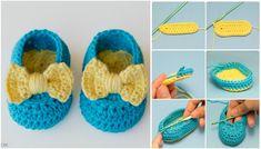 Bebek patik yapımı resimli anlatım. Kolay bebek patik yapımı anlatımlı. Tığ işi bebek patik modelleri. Sarı mavi örgü patik yapımı.