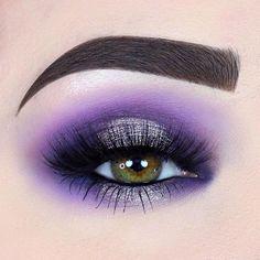 Purple eyeshadow looks, purple makeup looks, bright eye makeup Purple Eyeshadow Looks, Purple Makeup Looks, Bright Eye Makeup, Purple Eye Makeup, Makeup Eye Looks, Beautiful Eye Makeup, Wedding Makeup Looks, Smokey Eye Makeup, Colorful Makeup