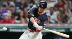 Cleveland Indians Bradley Zimmer connects for the double to knock in Austin Jackson with the go ahead run in the 7th inning against the Los Angeles Angels at Progressive Field, Cleveland, Ohio, on July 26. 2017. Indians up 3-2. (Chuck Crow/The Plain Dealer). Indians won 10-4