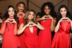 Fifth Harmony backstage at the Mercedes-Benz Fashion Week Go Red For Women Red Dress Collection 2015.
