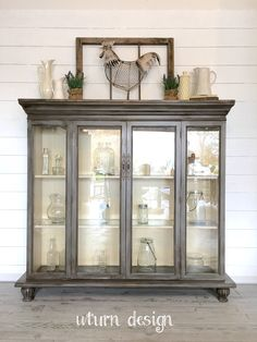 Grey Farmhouse hutch/ China cabinet By uturn design