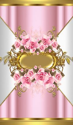Pink Roses Upon Gold White & Pink Wallpaper...By Artist Unknown...