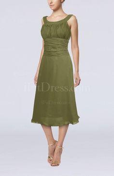 Casual A-line Scoop Zipper Tea Length Bridesmaid Dresses