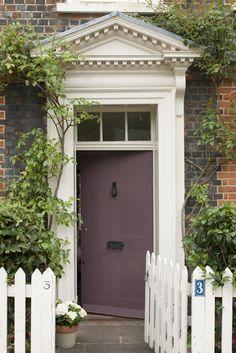 Please paint your front door a welcoming, pretty color: Door in Farrow & Ball's Brinjal, Exterior Eggshell