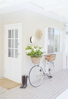 old bike white coastal styling abeachcottage.com beachy decor beach house deck