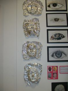 Tinfoil faces! Haunted Woods, Year 9, New Art, Art Ideas, Diamond Earrings, Arts And Crafts, Faces, Teaching, Jewelry