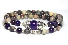 A new look to this signature design. Simply beautiful bracelet made with 6mm Amethyst and Rose Terra Jasper with a 10mm Amethyst focal bead. Just gorgeous and will be sure to get compliments. Amethyst