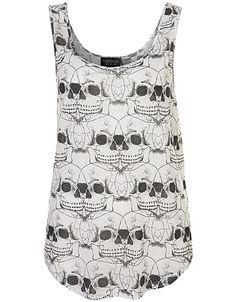 Top Shop All Over Skull Crop Vest