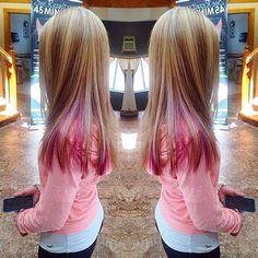 Pink Hair Streaks, Pink Blonde Hair, Blonde With Pink, Blonde Hair With Highlights, Kids Hair Color, Girl Hair Colors, Hair Color Blue, Kids With Colored Hair, Pink Peekaboo Hair