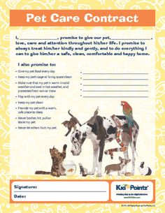 Pet Care Contract  Pet Care Free Printable And Free