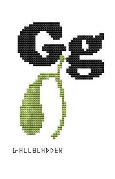 Modern Cross Stitch Kit - Human Body Parts - Alphabet - G for Gallbladder Anatomical letters by FredSpools on Etsy https://www.etsy.com/listing/167298646/modern-cross-stitch-kit-human-body-parts