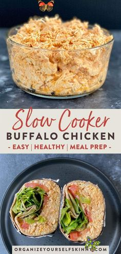 Healthy Slow Cooker Buffalo Chicken Recipe -  Healthy Slow Cooker Buffalo Chicken Recipe | Easy Meal Prep Recipes – Want to make the BEST crock - #BudgetRecipes #buffalo #chicken #CleanEatingMeals #cooker #healthy #HealthyMeals #recipe #Slow<br> Buffalo Chicken Recipes, Easy Chicken Recipes, Easy Healthy Recipes, Shredded Buffalo Chicken, Crockpot Healthy Recipes Clean Eating, Healthy Delicious Dinner Recipes, Healthy Meals For Two Dinner, Tasty, Healthy Crockpot Chicken Recipes