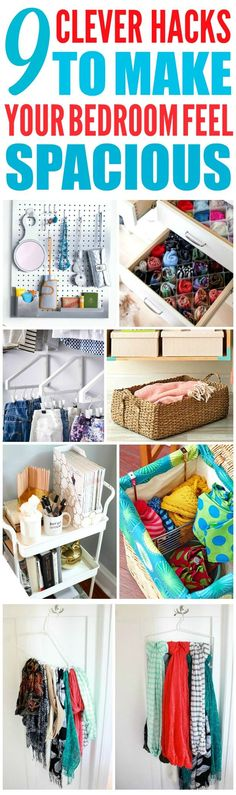 These 9 clever ways to organize a small bedroom are THE BEST! I'm so glad I found these GREAT tips! Now I have some great ways to organize my bedroom and have it feel way bigger! Definitely pinning these small bedroom organization tips!