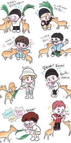 Exo with bunch of deer Travel the world on exo's ladder Baekhyun Fanart, Kpop Fanart, Chanbaek Fanart, Chanyeol, Exo Cartoon, Kpop Anime, Exo Stickers, Exo Fan Art, Exo Lockscreen