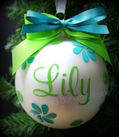 Personalized Christmas Ornament, Monogrammed Ornaments, Polka Dot Gifts, Petals and Polka Dots Christmas Ornament (Diy Ornaments Personalized) Vinyl Ornaments, Christmas Ornament Crafts, Personalized Christmas Ornaments, Christmas Baubles, Christmas Projects, Holiday Crafts, Christmas Decorations, Cricut Ornament, Holiday Ornaments