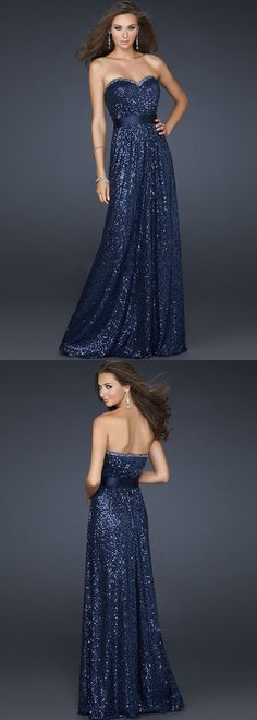 $186.00 - Elegant Strapless Sequins Long Homecoming Dress