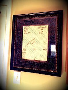 DIY picture frame dry erase board