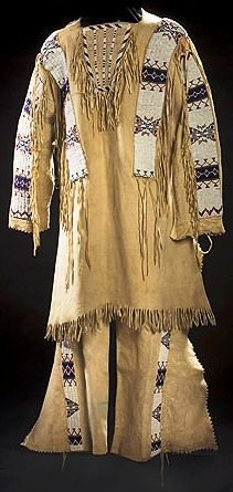 Clothing; Sioux, Shirt & Leggings, Beaded Hide.