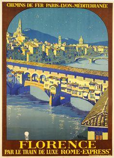 Florence vintage travel poster, Roger Broders, 1930