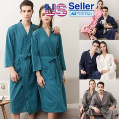6bfda32111 Men s Women s Bath Robe Dressing Gown Ladies Bathrobe Wrap Nightdress  Sleepwear  Bath  Bathrobe