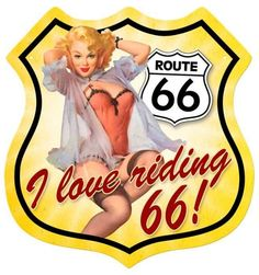 Route 66 pinup shield pin up girl-metal sign
