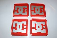 DC Shoe co 4 x Coasters on Red Matt Perspex with Silver Matt graphics.. £14.95 + delivery see www.mojo-shop.co.uk for more information