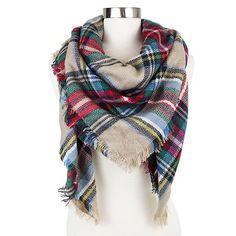 Women's Plaid Blanket Wrap Scarf Burgundy - Sylvia Alexander : Target