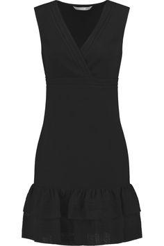 DIANE VON FURSTENBERG Embroidered Mesh-Trimmed Jersey Mini Dress. #dianevonfurstenberg #cloth #dress