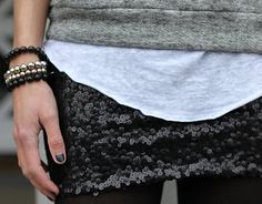 chiné gris sur paillettes noires
