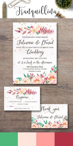 Watercolor Wedding Invitation, Printable Wedding Invitation, Floral Wedding…